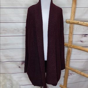 Forever 21 Maroon Open Sweater Medium NWT